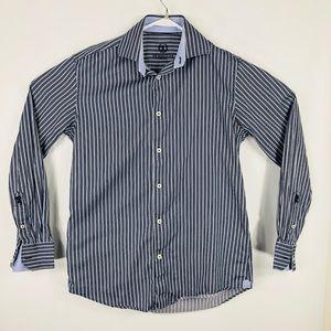 Bugatchi uomo Mens blue stripped button down shirt